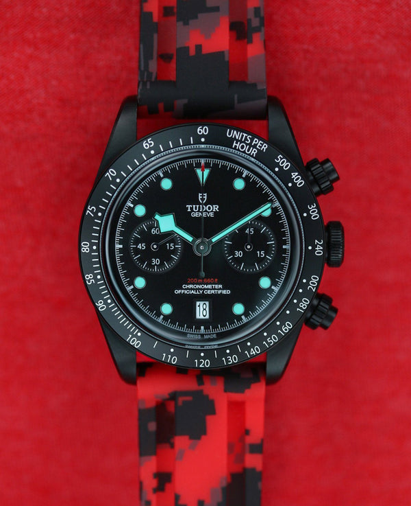 TUDOR BLACK BAY STRAP - RED DIGI CAMO RUBBER
