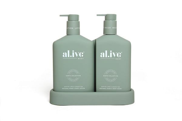 Wash & Lotion duo with Tray Kaffir Lime & Green Tea