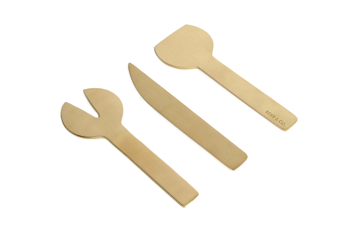 Behr and Co. Cheese Cutlery 3 Piece Brass