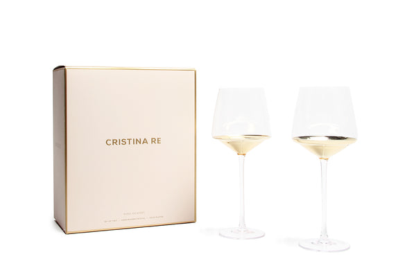 Cristina Re Wine Glass Gold Set of 2