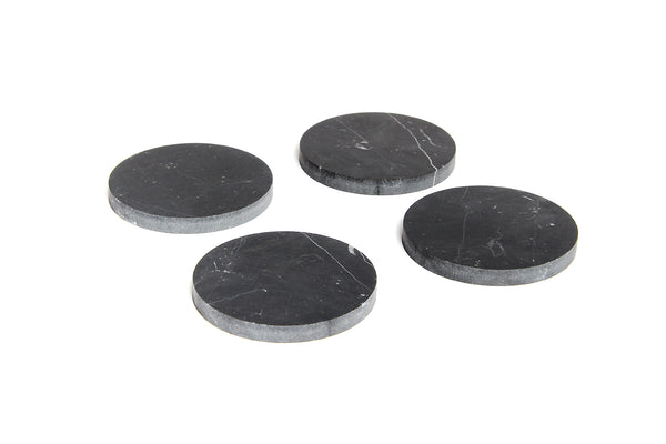 Behr and Co. Coasters Black Circle Set of 4 Marble
