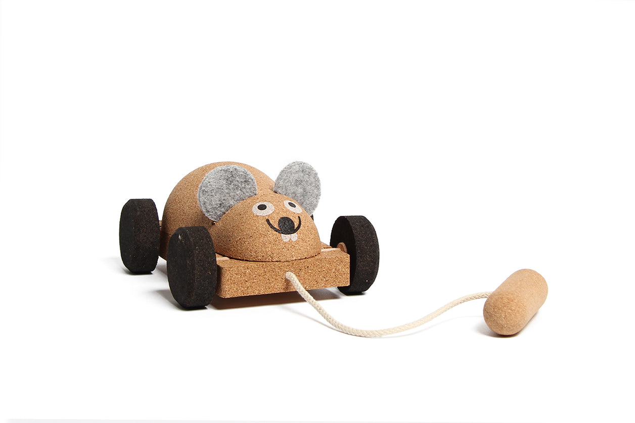 Cork Toy Pull Mouse