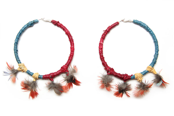 Cassie Leatham Raffia Hoop Earrings