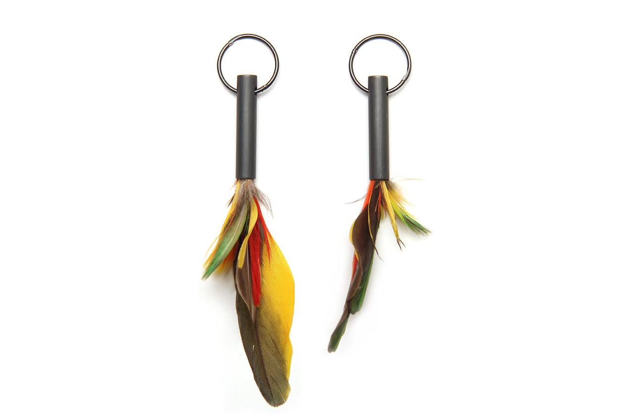 Cassie Leatham Blackened Tube Earrings with Feathers