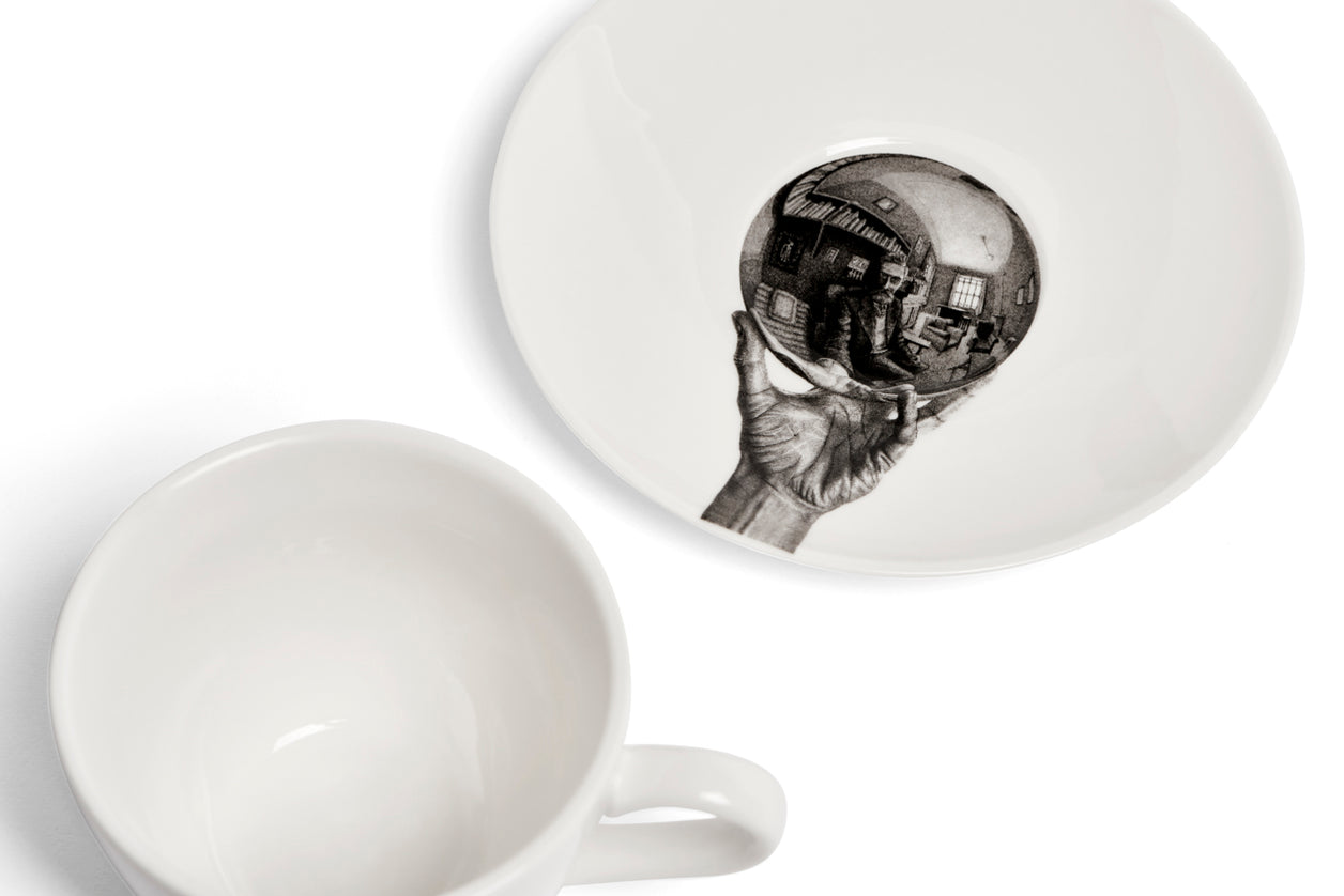 Tea Cup & Saucer Hand with reflecting sphere (Self-portrait in spherical mirror) M. C. Escher