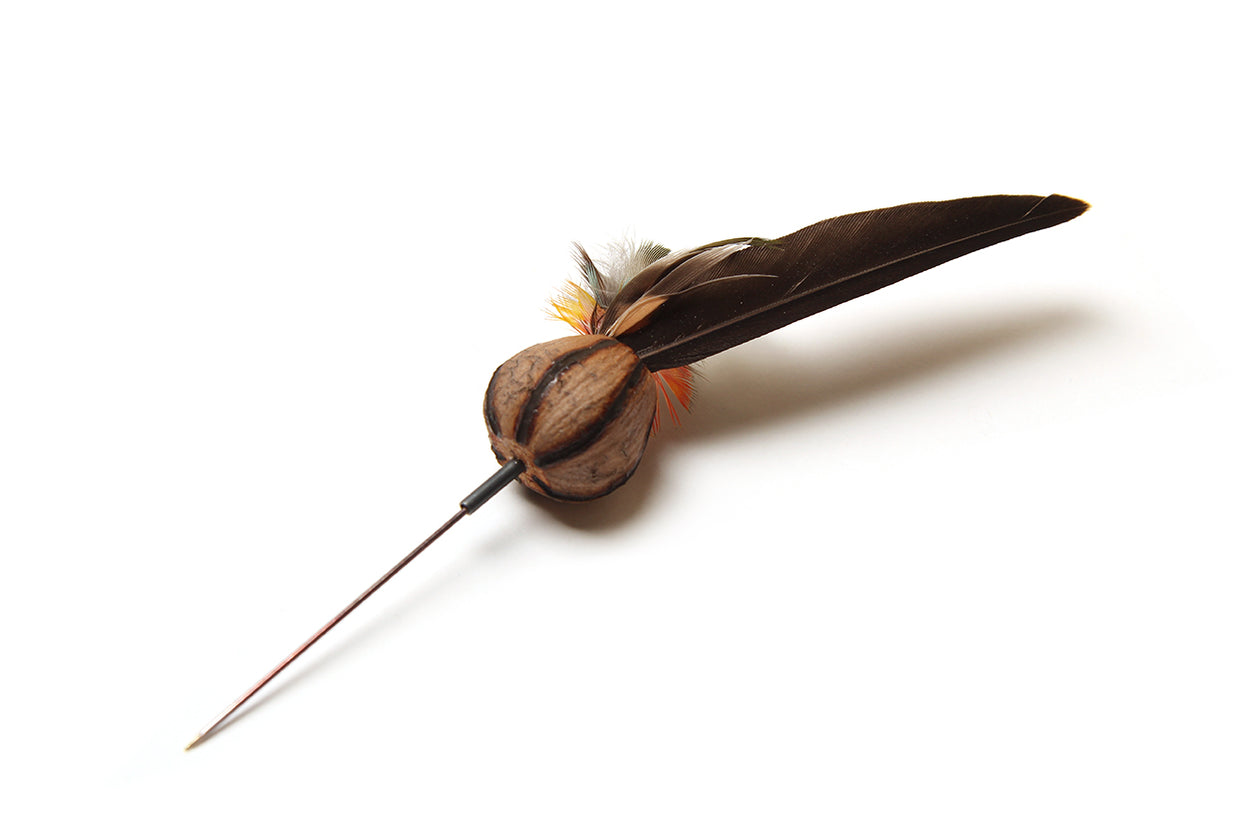 Cassie Leatham Blackened Silver Gumnut and Feather Pin