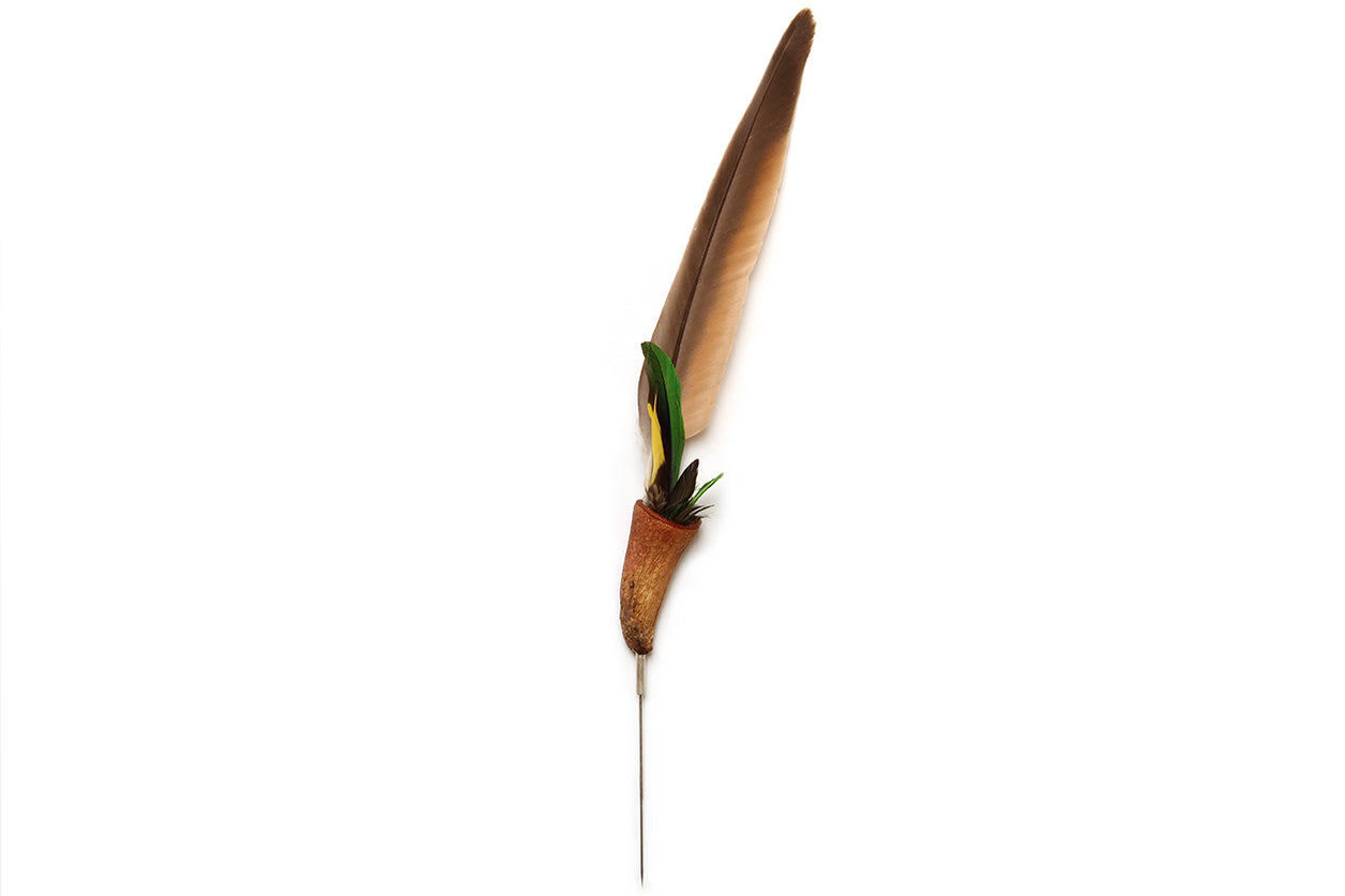 Cassie Leatham Silver Eucalypt and Feather Pin