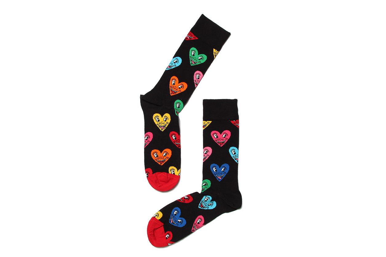 Sock Heart Black Keith Haring