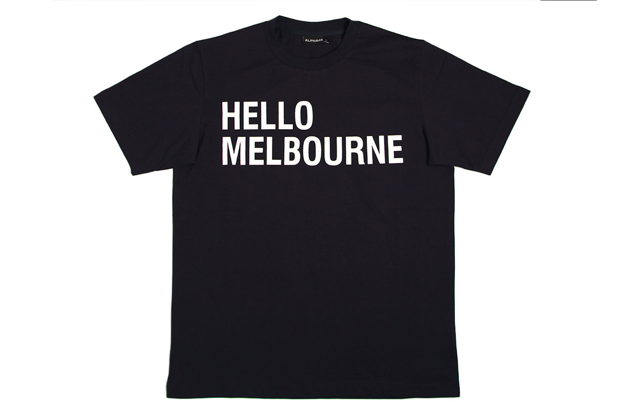 T-shirt Hello Melbourne Navy White