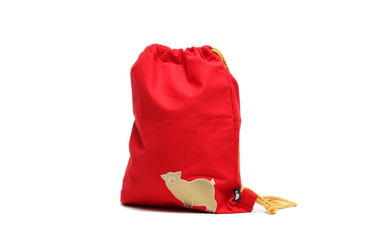 Drawstring Kids Bag Pig Gold On Red