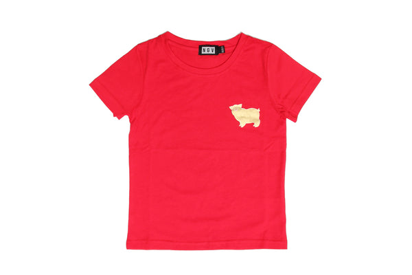 T-Shirt Kids Pig Gold On Red