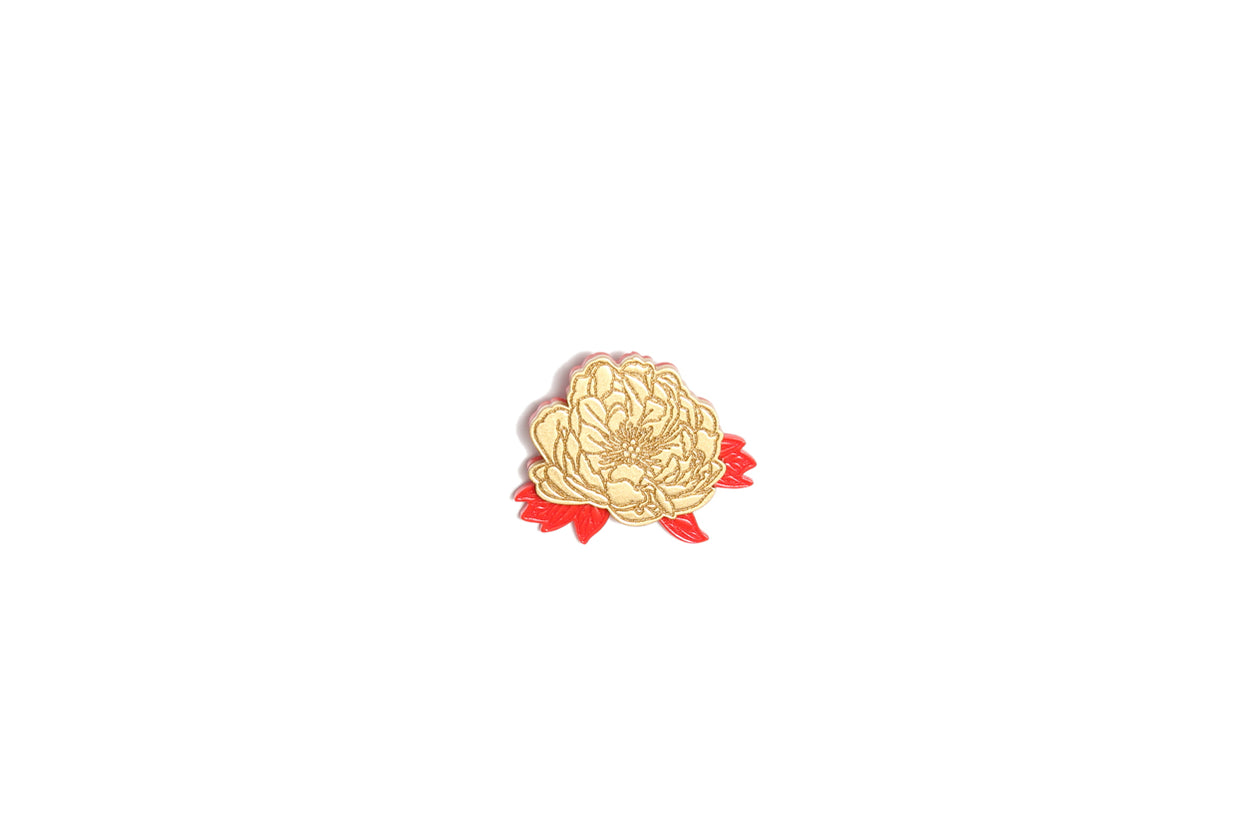 Brooch Flower Gold Red Leaves Resin