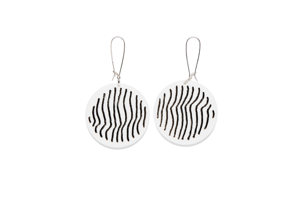 Earrings Small Full Circle 5cm - Stripe