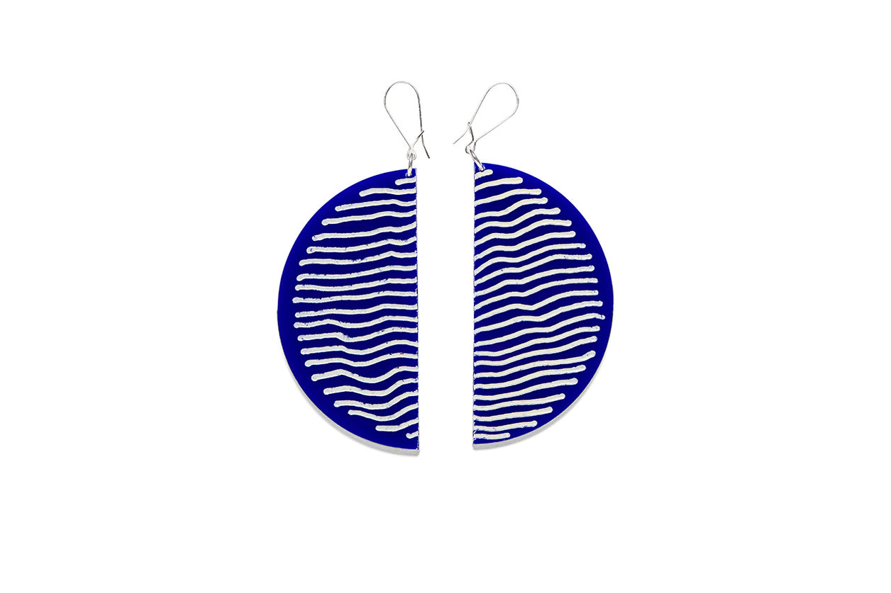 Earrings Large Half Circle 7.5cm - Stripe