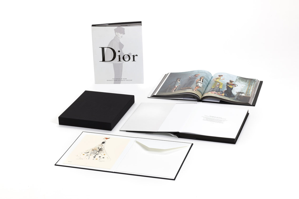 The House of Dior Seventy Years of Haute Couture Limited Edition Art Book with silkscreen print by Maria Grazia