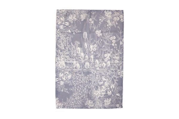 Tea Towel Grey Botanical