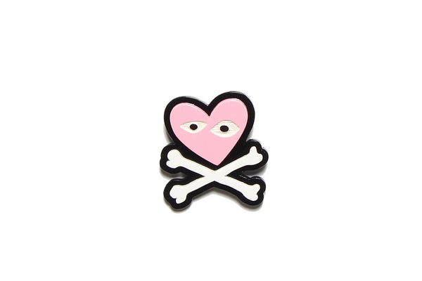 Brooch Pink Heart Crossbones Resin