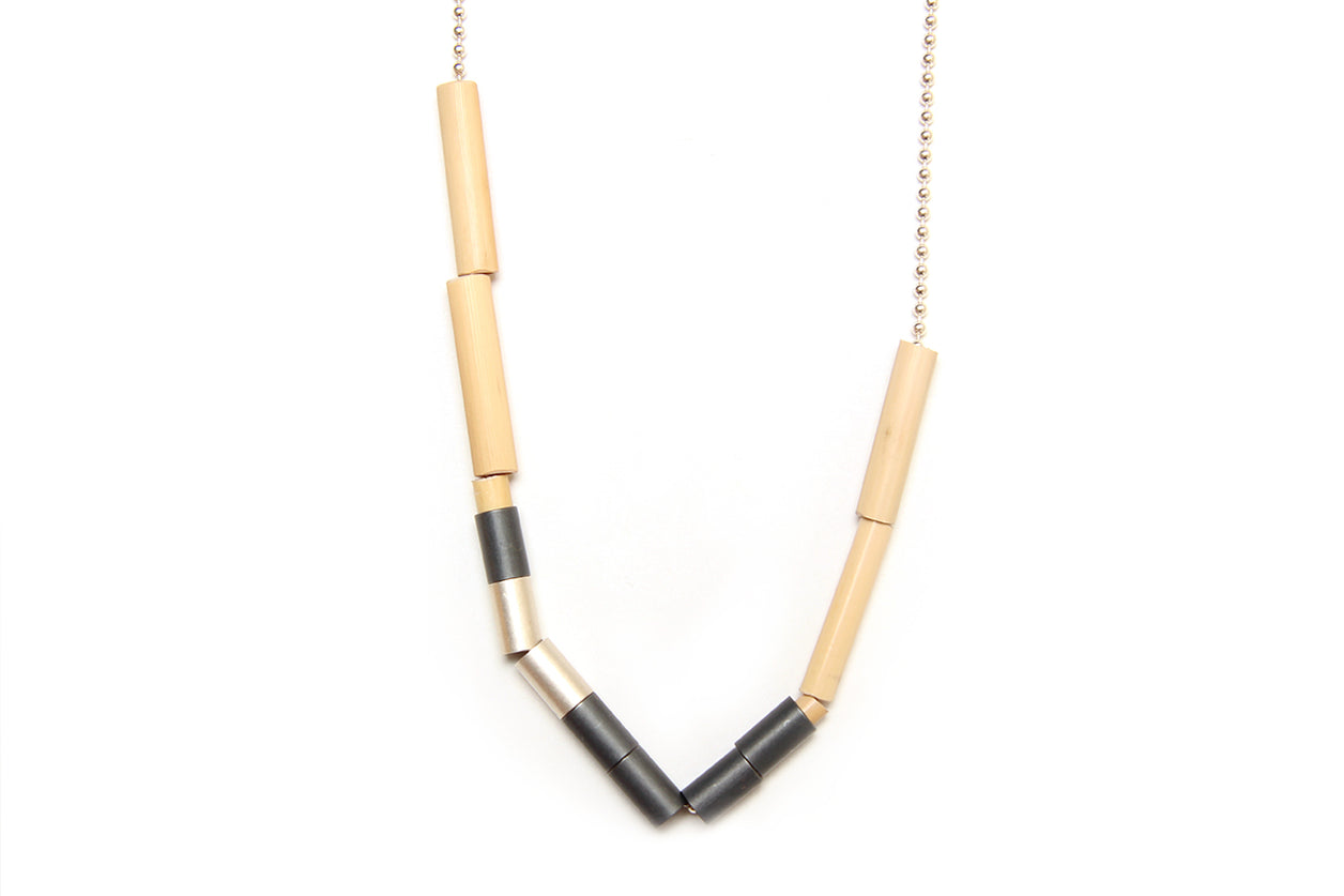 Cassie Leatham  25% Blackened Silver River Reed on Silver Chain Necklace