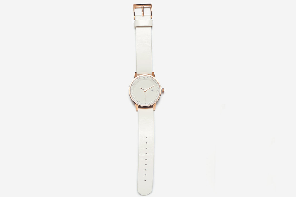 Simple Watch Co. Earl Rose Gold White Band and Face 42mm