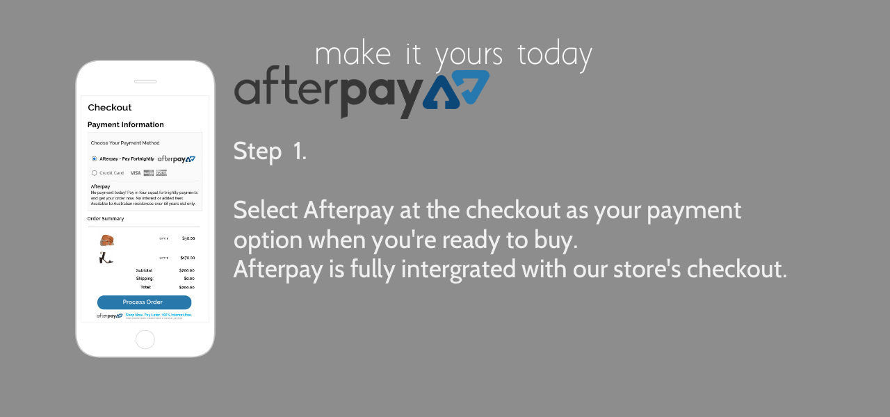 Afterpay interest free finance available at checkout