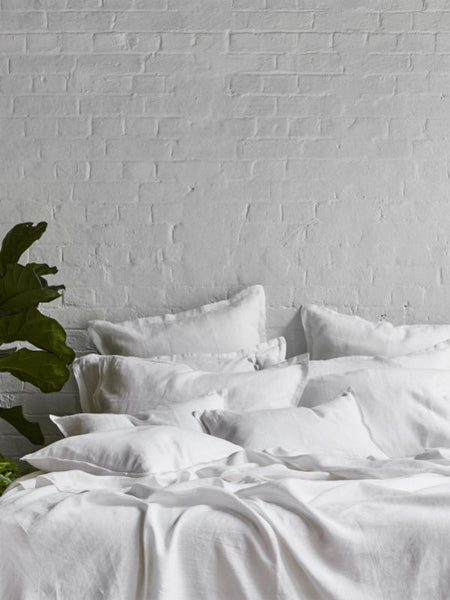 Pure Linen Fitted Bed Sheet In Cloud - Sheets on the Line