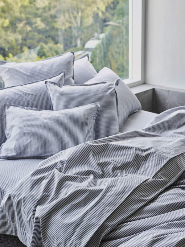 Fog Stripe - bed linen-Bed Linen - Cotton-Sheets on the Line