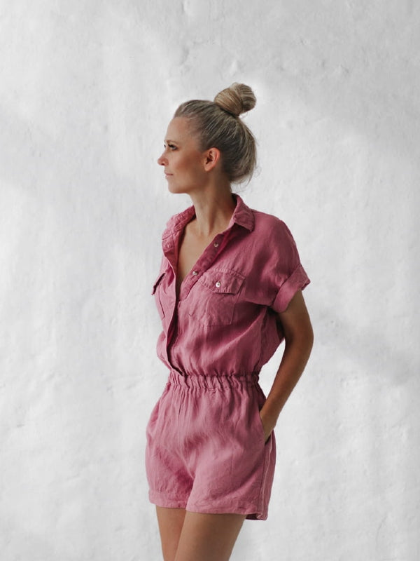 Linen Playsuit - Short-Clothing-Sheets on the Line
