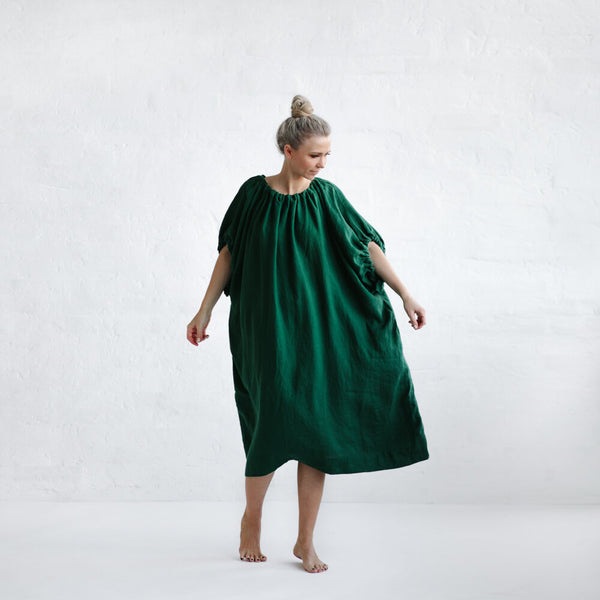 Linen Drawstring Dress-Clothing-Sheets on the Line