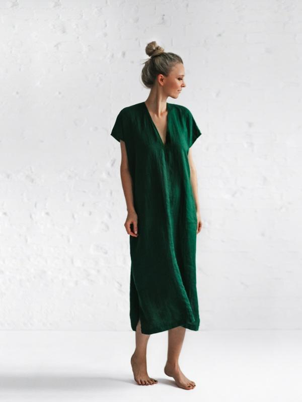 Linen V Neck Dress-Clothing-Sheets on the Line