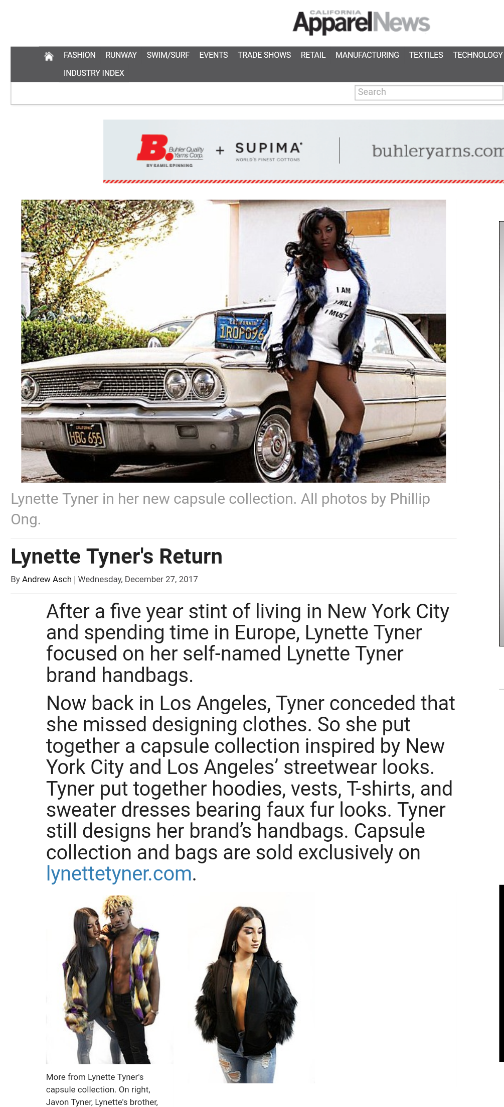 Apparel new article for Lynette Tyner new product launch
