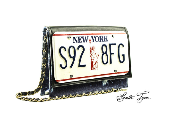 License Plate Leather Clutch
