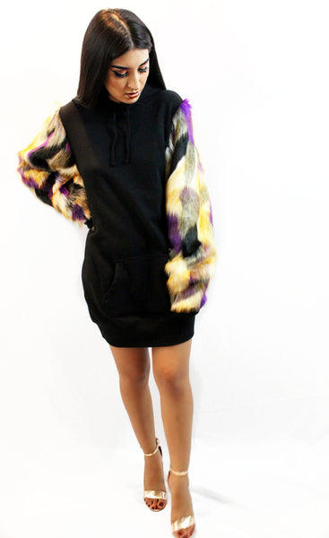 Sweater Dress Hoodie with Purple Multi-Colored Faux Fur Sleeves