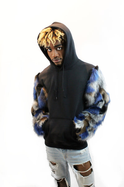 Unisex Black Pullover Hoodie Sweater with Blue Multi-colored Faux Fur Sleeves