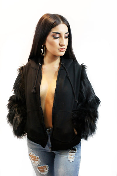 Black Unisex Zip Up Hoodie Sweater with Black Faux Fur Sleeves