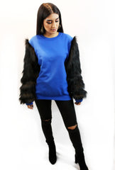 Black Unisex Crew Neck Sweater with Black Faux Fur Sleeves