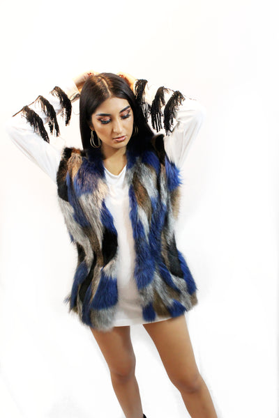 Unisex Faux Fur Blue Multi Colored Vest
