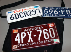 ALL DENIM REMOVABLE LICENSE PLATE MESSENGER BAG