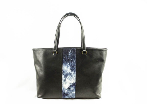 Black Leather & Denim Stripe Tote