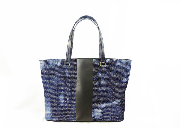 Denim & Leather Stripe Tote