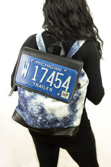License Plate Leather Backpack