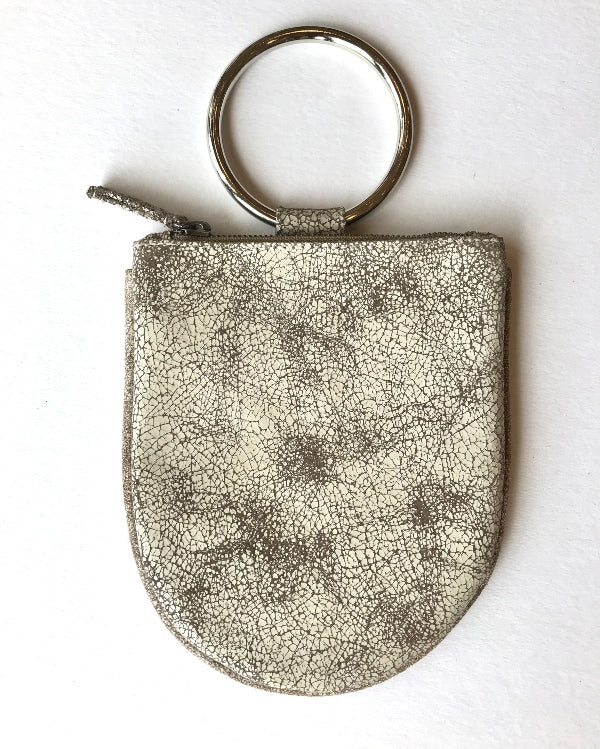 Mini Ring Wristlet - Crackle Cream