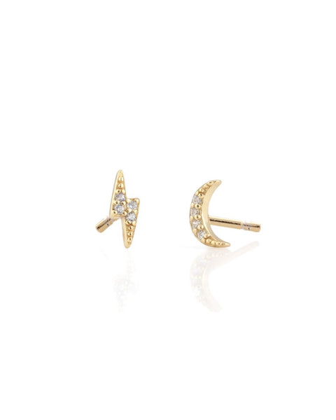 Thunder Moon Pave Stud Earrings