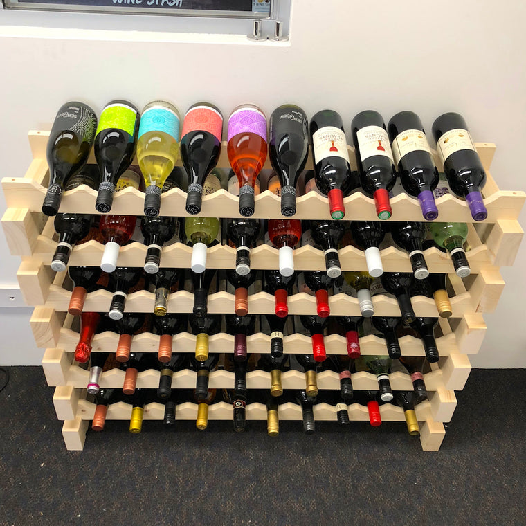 60 Bottle Modular Wine Rack in Natural Finish