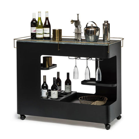 Black & Gold Bar Cart with Marble Top