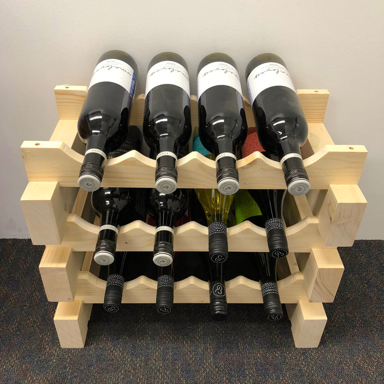 12 Bottle Wine Rack in Natural Finish