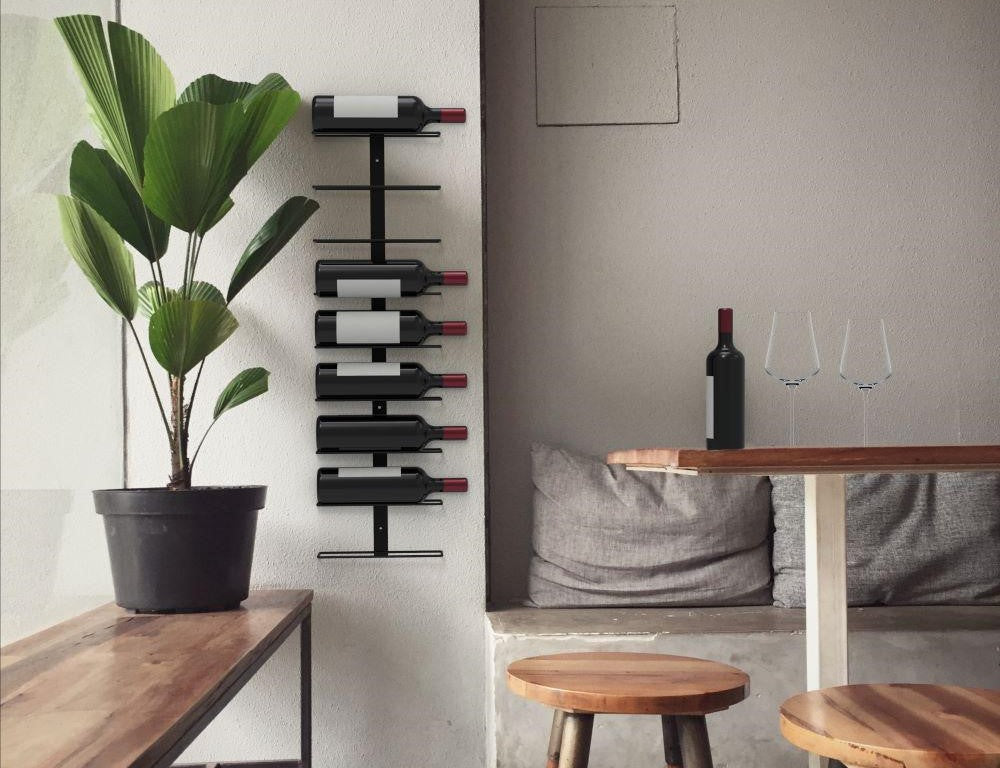 Kitchen wine rack on a wall