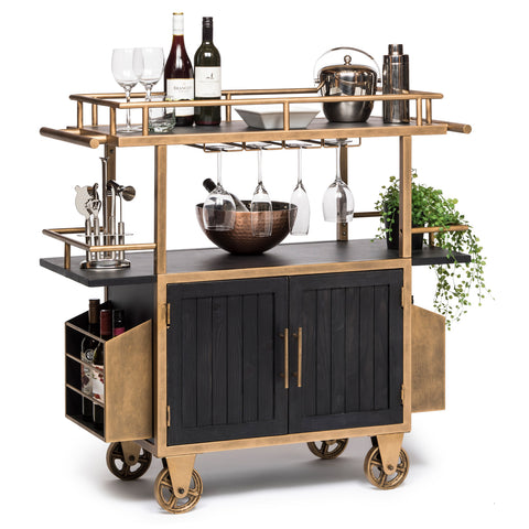 Industrial French Bar Cart with Wine
