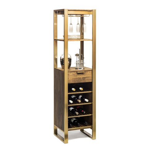 Timber Bar Cart Tower with Drawer