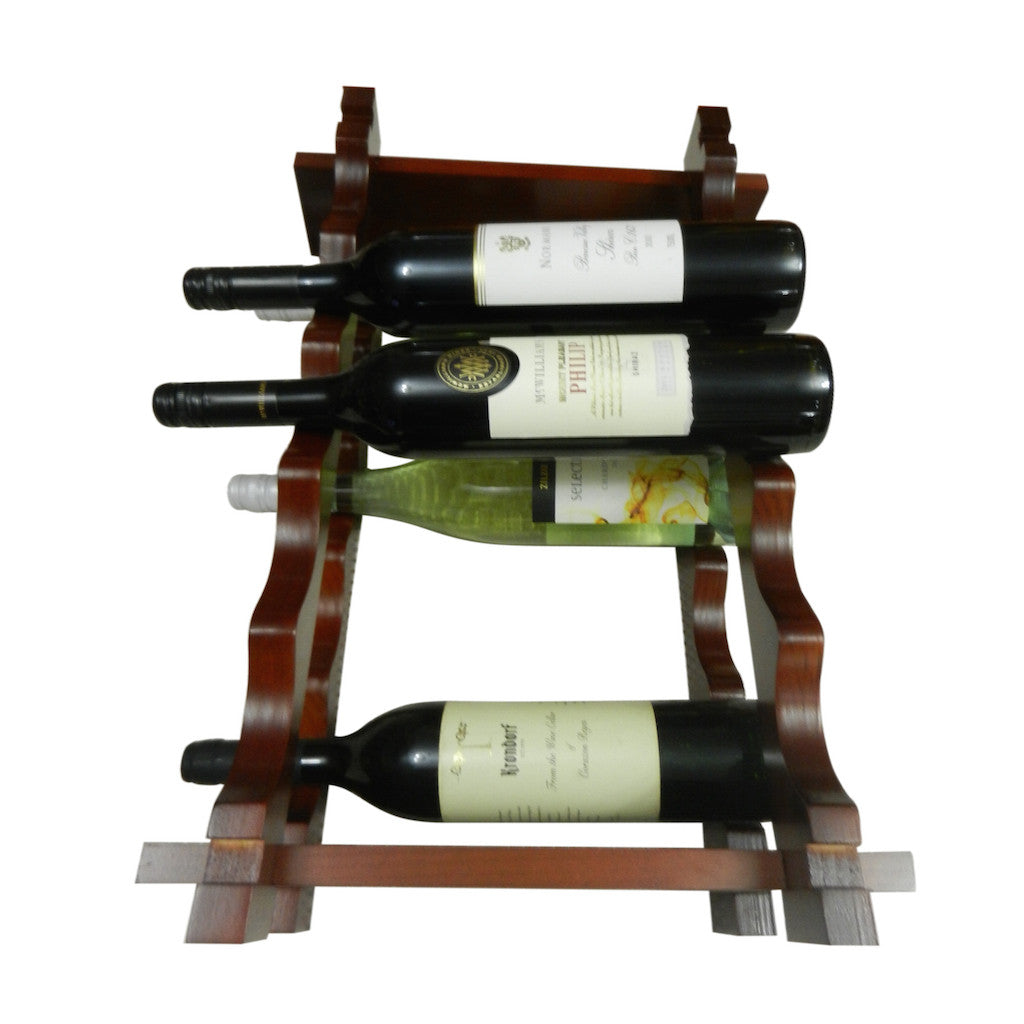 10 Bottle Wine Rack - Dark Mahogany