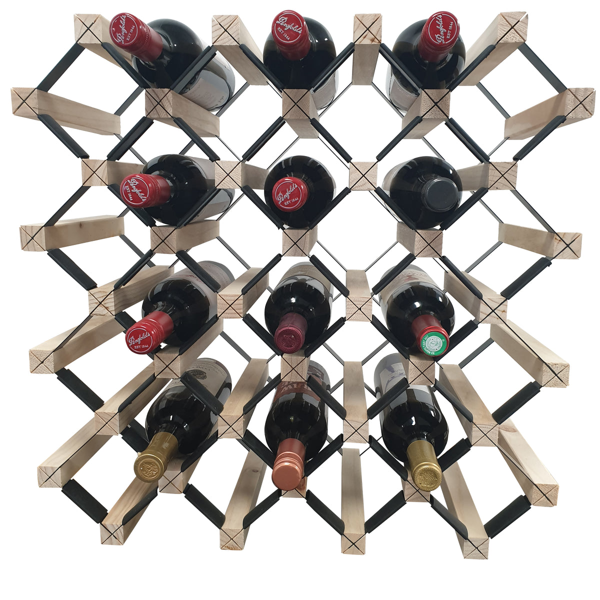 Diagonal Timber Wine Rack in the Natural Finish